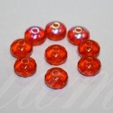 stk0471 apie 5.5 x 8.5 mm, rondelės forma, oranžinė spalva, ab danga, stiklinis karoliukas, 32 vnt.