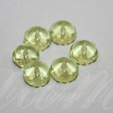 stk0482 apie 6 x 8.5 mm, rondelės forma, skaidrus, gelsva spalva, stiklinis karoliukas, 30 vnt.