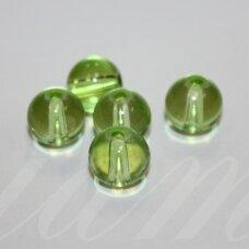 stk0508 apie 10 mm, apvali forma, skaidrus, žalia spalva, stiklinis karoliukas, 16 vnt.