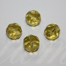 stk0509 apie 11 mm, apvali forma, briaunuotas, skaidrus, geltona spalva, stiklinis karoliukas, 10 vnt.