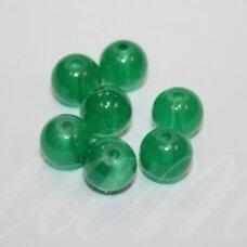 STK0515 apie 8 mm, apvali forma, melsvai žalia spalva, stikliniai karoliukai, 30 vnt.