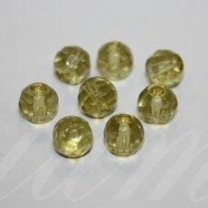 STK0516 apie 8 mm, apvali forma, briaunuotas, skaidrus, geltona spalva, stikliniai karoliukai, 30 vnt.