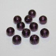 stk0520 apie 6 mm, apvali forma, tamsi, violetinė spalva, stiklinis karoliukas, 55 vnt.