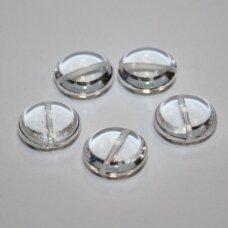 STK0529 apie 14 x 6.5 mm, disko forma, skaidrus, stikliniai karoliukai, 11 vnt.
