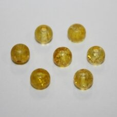 stk0538 apie 6 mm, apvali forma, geltona spalva, stiklinis karoliukas, 60 vnt.