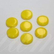 STK0540 apie 9 x 3 mm, disko forma, geltona spalva, stikliniai karoliukai, 40 vnt.