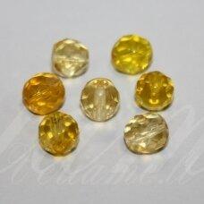 stk0551 apie 8 mm, apvali forma, briaunuotas, skaidrus, geltona spalva, stiklinis karoliukas, apie 20 vnt.