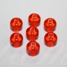 STK0554 apie 8 mm, apvali forma, tamsi, oranžinė spalva, stikliniai karoliukai, 20 vnt.