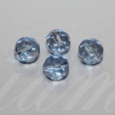 stk0563 apie 10 mm, apvali forma, briaunuotas, skaidrus, žydra spalva, stiklinis karoliukas, 16 vnt.