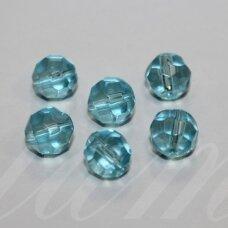 stk0564 apie 9 mm, apvali forma, briaunuotas, šviesi, mėlyna spalva, stiklinis karoliukas, 18 vnt.