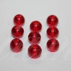 STK0577 apie 8 mm, apvali forma, skaidrus, raudona spalva, stikliniai karoliukai, 25 vnt.