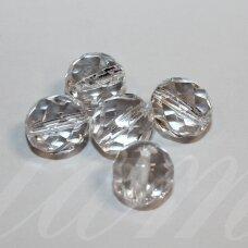 stk0333 apie 11 mm, apvali forma, briaunuotas, skaidrus, stiklinis karoliukas, 10 vnt.