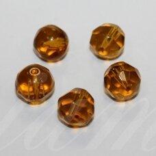 stk0579 apie 10 mm, apvali forma, briaunuotas, ruda spalva, stiklinis karoliukas, 15 vnt.