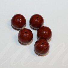 stk0877 apie 11 mm, apvali forma, ruda spalva, stiklinis karoliukas, 9 vnt.