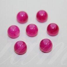 STK0589 apie 8 mm, apvali forma, rožinė spalva, stikliniai karoliukai, 29 vnt.