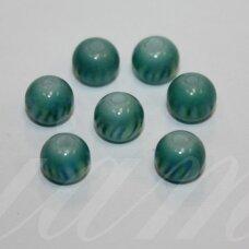 STK0602 apie 8 mm, apvali forma, žalsvai melsva spalva, dryžuotas, stikliniai karoliukai, 28 vnt.