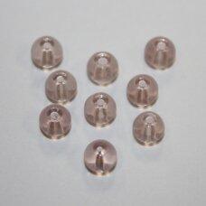 stk0614 apie 6 mm, apvali forma, skaidrus, šviesi, rožinis atspalvis, stiklinis karoliukas, 65 vnt.