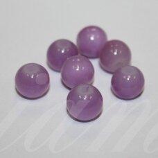 STK0616 apie 8 mm, apvali forma, rožinė spalva, stikliniai karoliukai, 29 vnt.