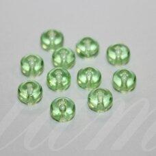 stk0622 apie 4.5 x 5.5 mm, rondelės forma, briaunuotas, skaidrus, salotinis atspalvis, stiklinis karoliukas, 60 vnt.