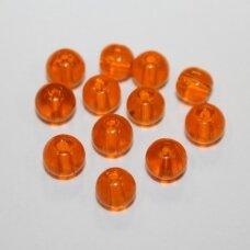 stk0631 apie 6 mm, apvali forma, skaidrus, oranžinė spalva, stiklinis karoliukas, 66 vnt.