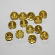 stk0636 apie 6 mm, apvali forma, geltona spalva, stiklinis karoliukas, 58 vnt.