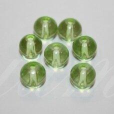 STK0639 apie 8 mm, apvali forma, skaidrus, žalia spalva, stikliniai karoliukai, 28 vnt.