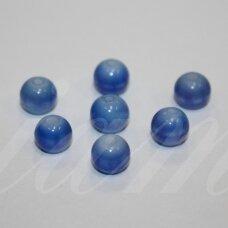 STK0641 apie 8 mm, apvali forma, melsvai balta spalva, margas, stikliniai karoliukai, 29 vnt.