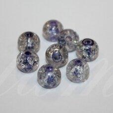 stk0643 apie 8 mm, apvali forma, skaidrus, viduriukas violetinė spalva, stiklinis karoliukas, 28 vnt.