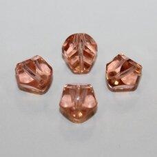 stk0645 apie 12 x 10.5 mm, briaunuotas, skaidrus, rožinė spalva, stiklinis karoliukas, 8 vnt.