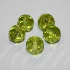 stk0660 apie 10 mm, apvali forma, briaunuotas, skaidrus, žalia spalva, stiklinis karoliukas, 15 vnt.