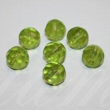 stk0661 apie 11 mm, apvali forma, briaunuotas, skaidrus, žalia spalva, stiklinis karoliukas, 10 vnt.
