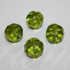 stk0662 apie 13 mm, apvali forma, briaunuotas, skaidrus, žalia spalva, stiklinis karoliukas, 5 vnt.