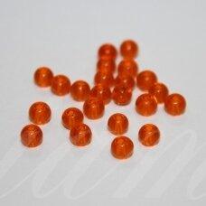 stk0677 apie 4 mm, apvali forma, skaidrus, oranžinė spalva, stiklinis karoliukas, apie 190 vnt.