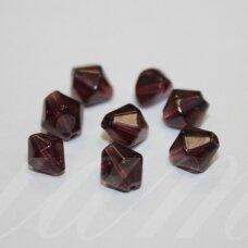 STK0681 apie 9 x 8 mm, rombo forma, tamsi, violetinė spalva, stiklinis karoliukas, 38 vnt.