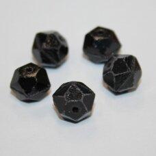 stk0697 apie 9.5 x 11 mm, briaunuotas, juoda spalva, stiklinis karoliukas, 12 vnt.