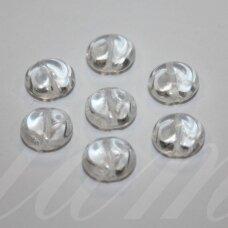 stk0699 apie 11 x 6 mm, netaisyklinga, disko forma, skaidrus, stiklinis karoliukas, 20 vnt.