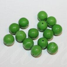 stk0619 apie 8 mm, apvali forma, žalia spalva, stiklinis karoliukas, apie 30 vnt.