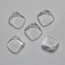 stk0703 apie 12 x 13.5 mm, rombo forma, skaidrus, stiklinis karoliukas, 22 vnt.