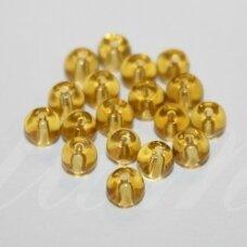 stk0725 apie 4 mm, apvali forma, skaidrus, gelsva spalva, stiklinis karoliukas, apie 180 vnt.