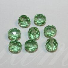stk2232 apie 8 mm, apvali forma, briaunuotas, skaidrus, žalia spalva, stiklinis karoliukas, apie 34 vnt.