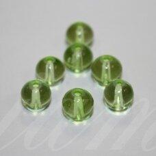 stk0728 apie 8 mm, apvali forma, skaidrus, žalia spalva, stiklinis karoliukas, apie 38 vnt.