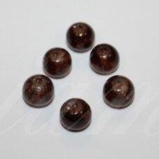 STK0729 apie 8 mm, apvali forma, skaidrus, tamsi, ruda spalva, stikliniai karoliukai, apie 28 vnt.