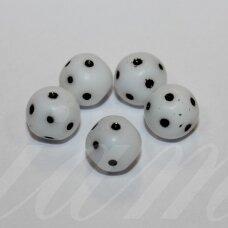 STK0765 apie 10 mm, apvali forma, taškuotas, stikliniai karoliukai, 16 vnt.