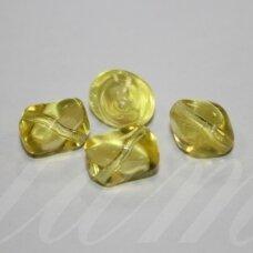 stk0829 apie 12 x 13 mm, netaisyklinga forma, skaidrus, geltona spalva, stiklinis karoliukas, 13 vnt.
