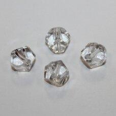 stk0845 apie 12 mm, briaunuotas, skaidrus, stiklinis karoliukas, 9 vnt.