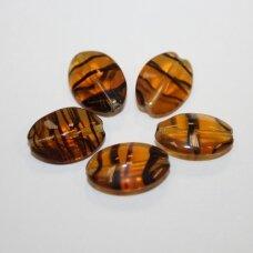 stk0867 apie 17 x 12 x 7 mm, ovalo forma, nuleisti kraštai, skaidrus, ruda spalva, juoda spalva, stiklinis karoliukas, 15 vnt.