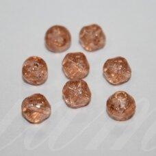 STK0874 apie 6 mm, bicone forma, skaidrus, skaldytas, oranžinė spalva, stiklinis karoliukas, apie 60 vnt.