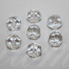 stk0888 apie 8.5 x 10 mm, netaisyklinga forma, briaunuotas, skaidrus, stiklinis karoliukas, 18 vnt.