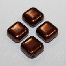 STK0898 apie 14 x 6 mm, rombo forma, tamsi, ruda spalva, stiklinis karoliukas, 12 vnt.