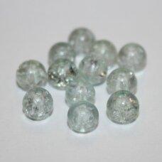 stk0926 apie 6 mm, apvali forma, daužtas, melsva spalva, stiklinis karoliukas, apie 68 vnt.